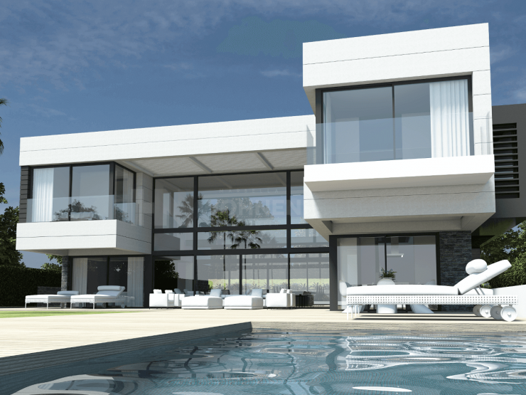 Superb new contemporary style luxury Villa with Golf views