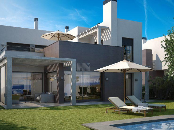 Contemporary villas under construction frontline golf