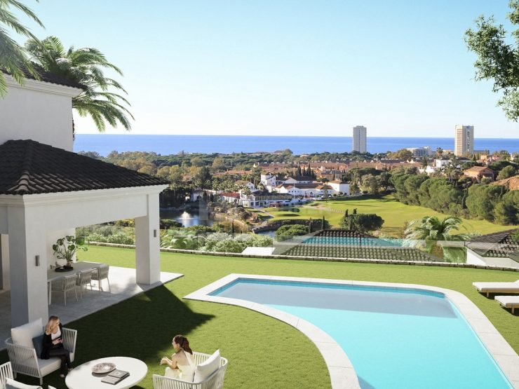 Detached villas and semi-detached houses with golf and ocean views