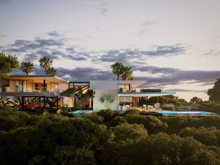 Modern architecture villa with open views to the sea and the golf course